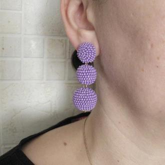 Фиолетовые серьги бон бон из бисерных шариков (1-3 шарика, 40 цветов)