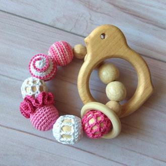 Грызунок прорезыватель экоигрушка подарок малышу ручная работа игрушка деревянный натуральный