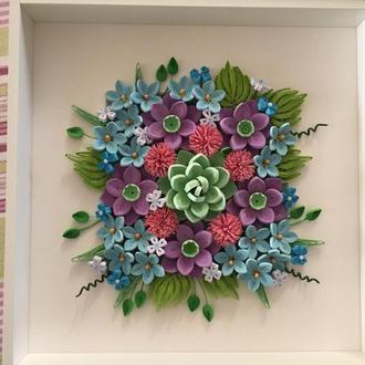 Картина в технике квиллинг, цветочная композиция