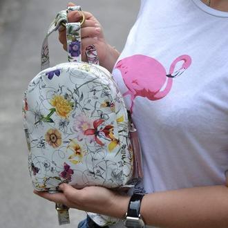 Рюкзак цветочный мини. Натуральная кожа.
