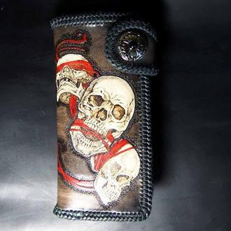Кожаный кошелек Красное на черном