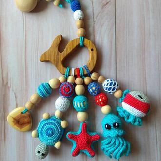 Развивающая игрушка в коляску грызунок прорезыватель подарок экоигрушка  слингоигрушка малышу