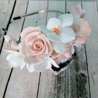 обруч для волос с цветами из фоамирана