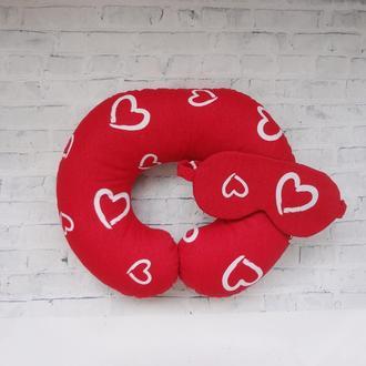 Дорожная подушка на шею - сердца
