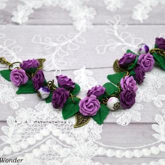 Браслет с лиловыми розами
