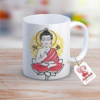 """Чашка с текстом в подарок, день рождения - """"Будда""""."""