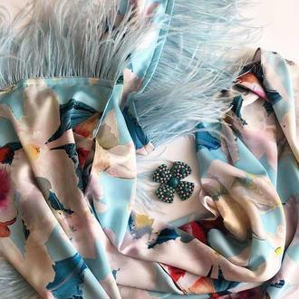 """""""Орхидеи голубых грез"""" большой шелковый шарф, шарф-палантин, шарф-накидка"""