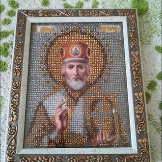 Святой Николай, Николай Чудотворец, икона, вышитая бисером
