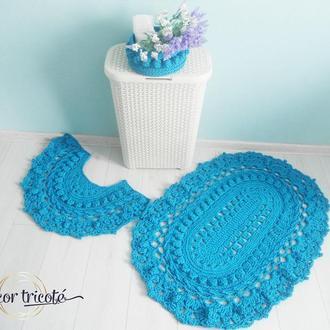 Комплект вязаных ковриков в ванную из полиэфирного шнура