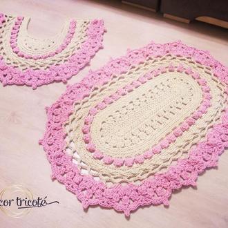 Комплект вязаных ковриков для ванной