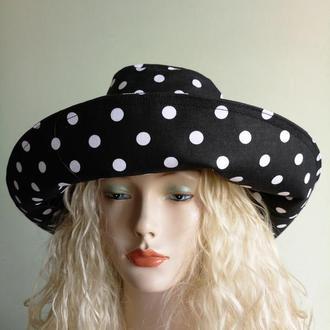 Шляпа широкополая черная в белый горох, натуральная, хлопок 100%