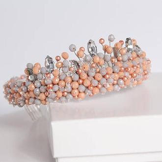 Нежный персиковый обруч-корона