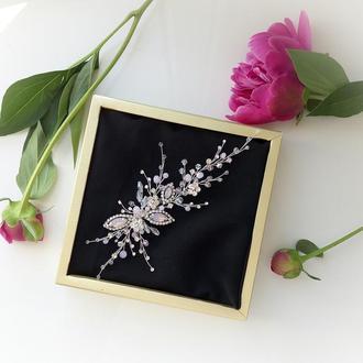 Свадебное украшение для волос,  веточка в прическу, нежно розовое украшение в прическу