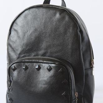 Женский рюкзачок чёрный из натуральной кожи