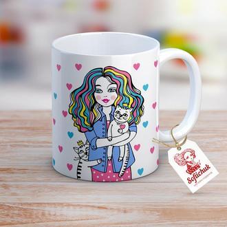"""Чашка с текстом в подарок на день друзей, день рождения для подруги - """"Котики любимые"""""""