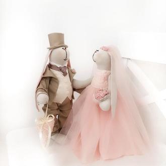 Пионовая свадьба пара заек тильда жених невеста подарок декор годовщина зайка