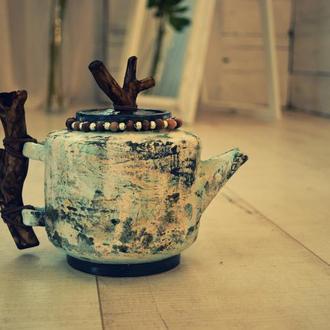 Чайник бохо. Деревянная ручка