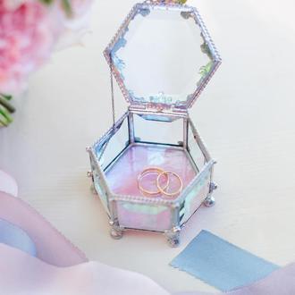 """""""Розовая нежность"""" маленькая шестиугольная шкатулка"""