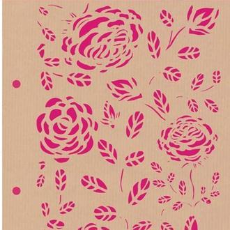 Трафарет комби. Фонові троянди, 15х21см