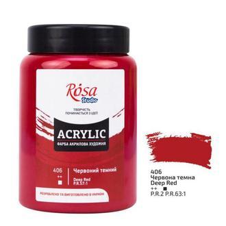 Краска акриловая Rosa Studio Красная темная (406) 400 мл