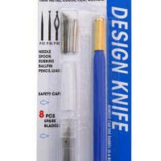 Нож макетный DAFA C-604P пластиковая ручка 8 сменных лезвий + 4 насадки