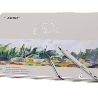 Набор акварельных карандашей Marco Raffine 12 цветов металлический пенал