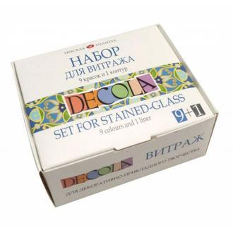 Набор витражных красок Decola на водной основе 9 цветов по 20 мл + контур (4690688006713)