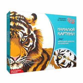 Набор акриловой живопись по номерам, Тигр