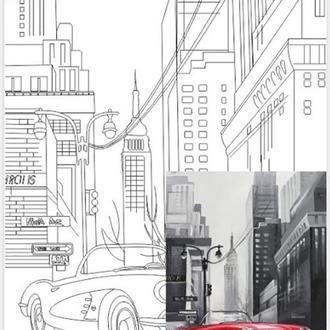 Холст на картоне с контуром, Пейзаж № 27, 30x40, хлопок, акриловый грунт, Этюд