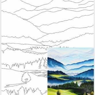 Холст на картоне с контуром, Пейзаж № 30, 30x40, хлопок, акриловый грунт, Этюд