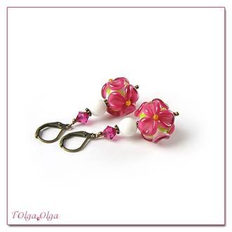 Серьги Цветы темно-розовые