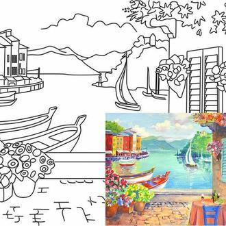 Холст на картоне с контуром, Морской пейзаж № 3, 30x40, хлопок, акриловый грунт, Этюд