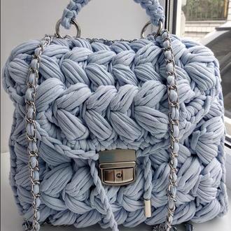 Рюкзак-зефирка из трикотажной пряжи.