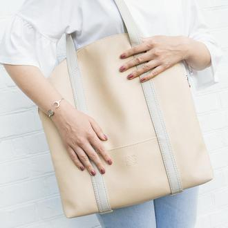 "Бежевая сумка на плечо ""Oceana"". Шоппер. Эко кожа"