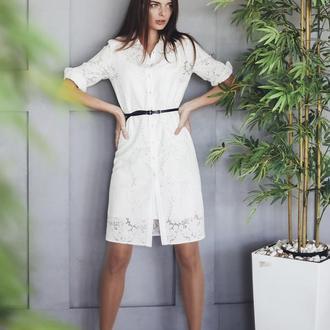 Платье-рубашка Floral White Organza