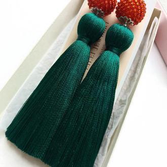 Серьги-кисточки ВИШЕНКИ зеленые, красные ручная работа Lilei Jewelry