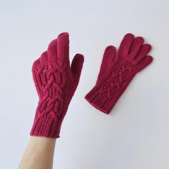 Женские перчатки из мериносовой пряжи