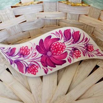 Деревянная заколка автомат волна для волос Шишечки, авторская роспись