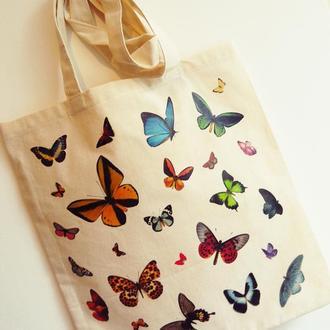 Еко торба сумка з метеликами 2