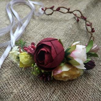 віночок зі стрічками венок с лентами венок с розами венок на голову венок свадебный