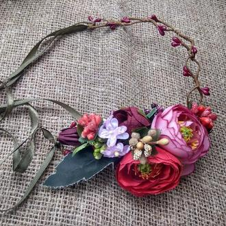венок с лентами венок с розами віночок зі стрічками венок на голову венок свадебный