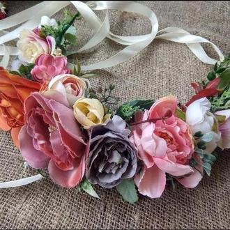 віночок зі стрічками венок с цветами венок с розами венок на голову венок свадебный