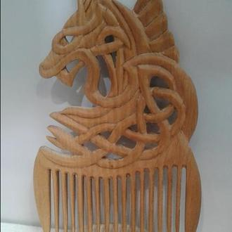 """Гребень деревянный для волос """"Дракон"""""""