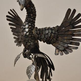 скульптура жарптицы феникса из нержавеющей стали