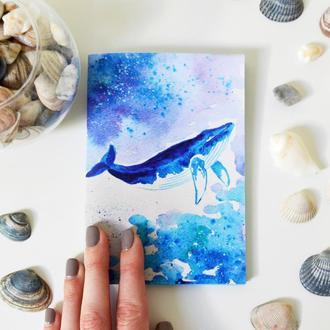 Авторский блокнот Кит. Морской блокнот с голубыми страницами. Формат А6.