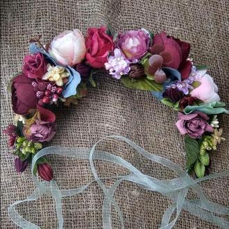 вінок бордовий венок большой венок с лентами венок свадебный венок с цветами обруч венок с розами