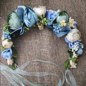 вінок зі стрічками венок голубой венок с лентами венок свадебный украинский обруч с розами