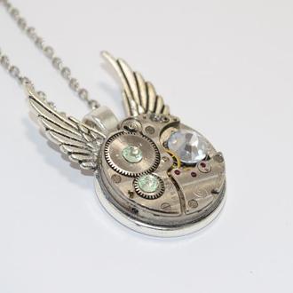 Кулон Крылатые часы в стиле стимпанк steampunk
