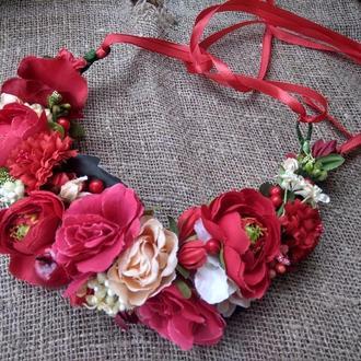 вінок червоний венок украинский вінок з трояндами обруч с розами венок большой с лентами зі стрічкам