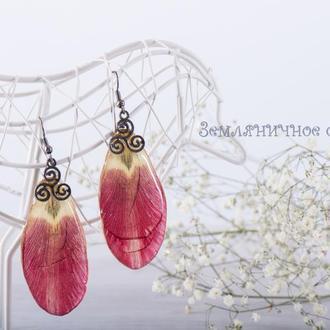 Серьги из лепестков тюльпана